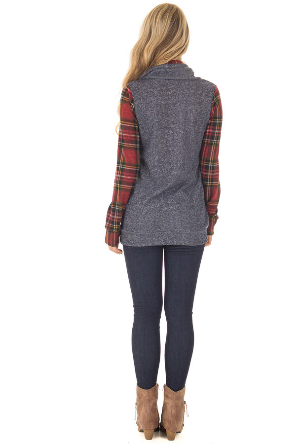 Navy Cowl Neck Top and Burgundy Plaid Contrast back full body