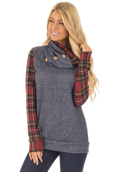 Navy Cowl Neck Top and Burgundy Plaid Contrast front close up