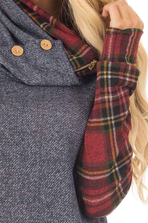 Navy Cowl Neck Top and Burgundy Plaid Contrast detail