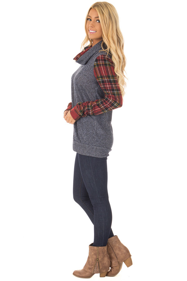 Navy Cowl Neck Top and Burgundy Plaid Contrast side full body