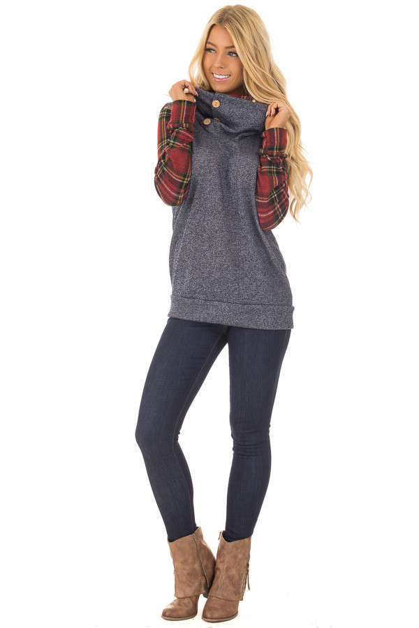 Navy Cowl Neck Top and Burgundy Plaid Contrast front full body