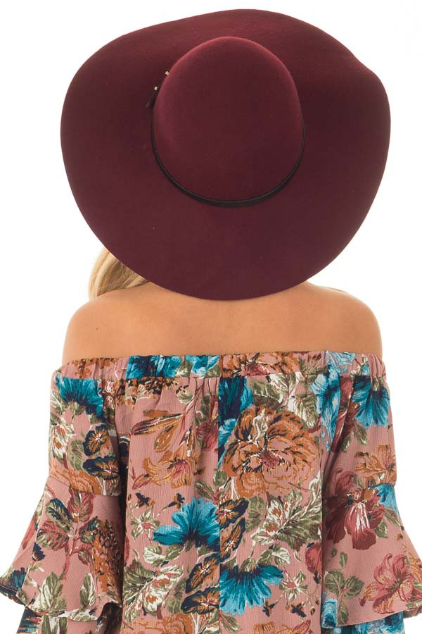 Burgundy Floppy Hat with Black Band Detail back view