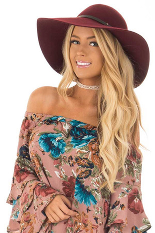 Burgundy Floppy Hat with Black Band Detail front view