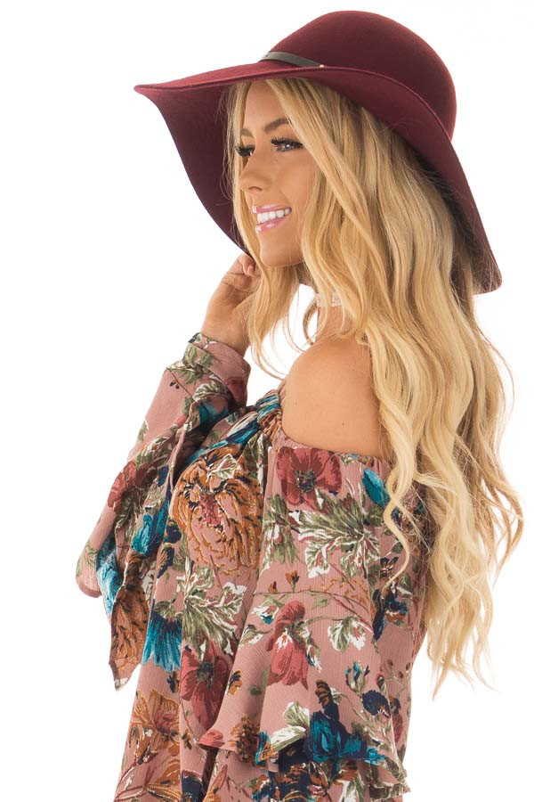 Burgundy Floppy Hat with Black Band Detail side view