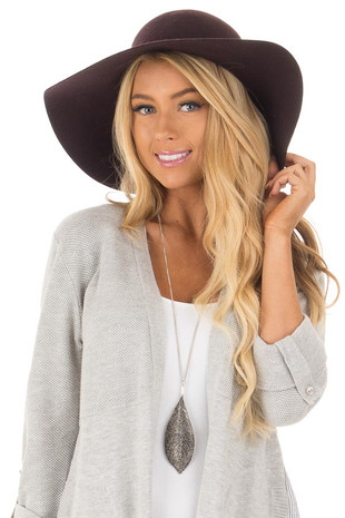 Plum Floppy Hat with Black Tie and O Ring Detail front view