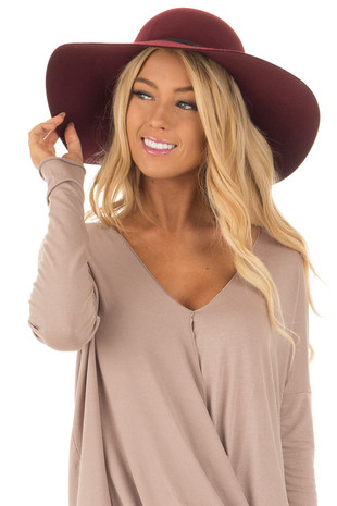 Burgundy Floppy Hat with Black Tie and O Ring Detail front view