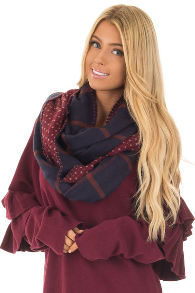 Burgundy Print and Navy Plaid Reversible Scarf front close up