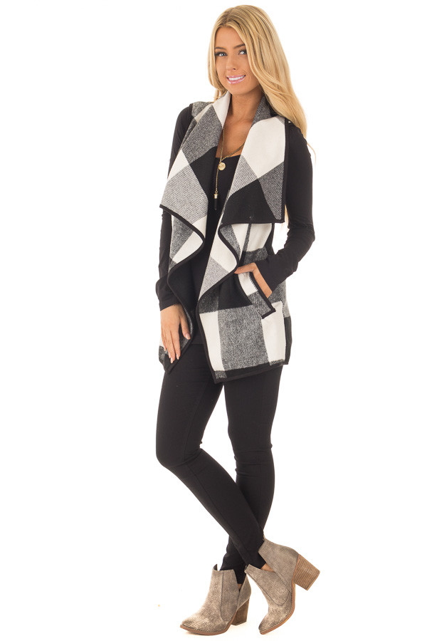 Black and White Plaid Waterfall Vest with Pockets front full body