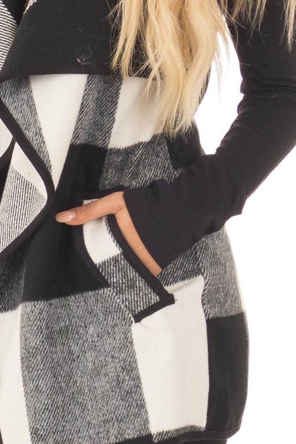 Black and White Plaid Waterfall Vest with Pockets detail