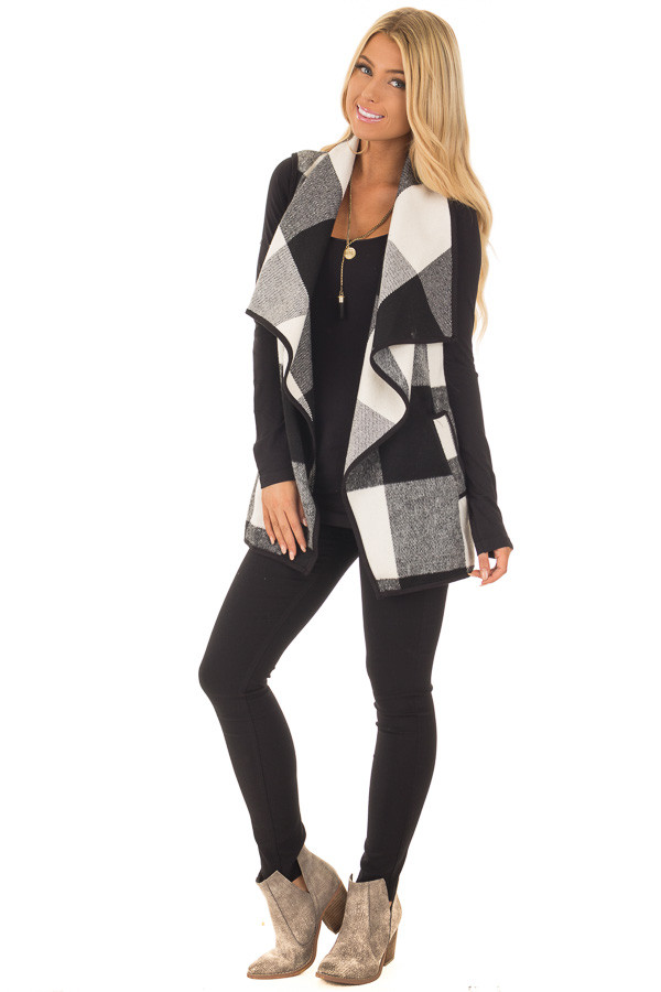 Black and White Plaid Waterfall Vest with Pockets - Lime Lush Boutique