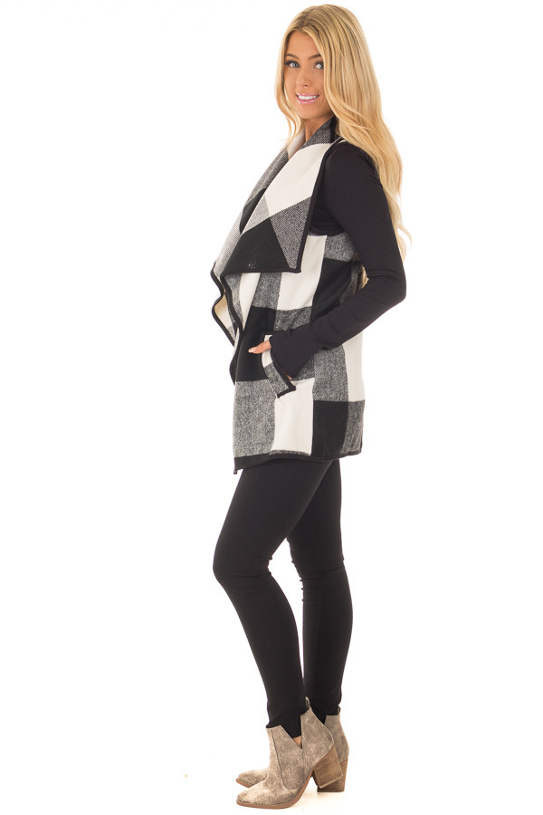 Black and White Plaid Waterfall Vest with Pockets side full body