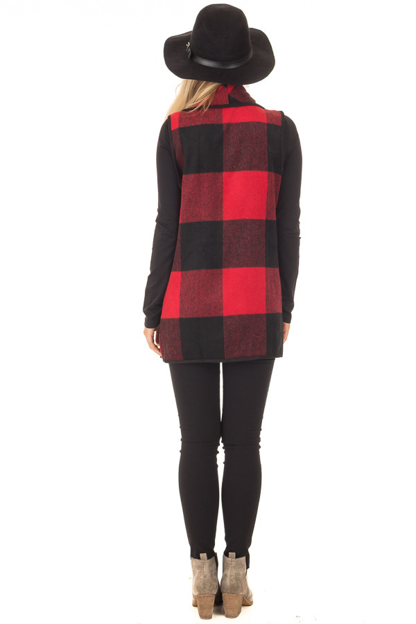 Black and Red Plaid Waterfall Vest with Pockets back full body