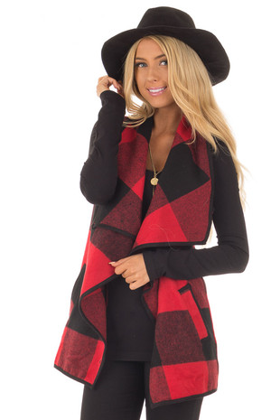 Black and Red Plaid Waterfall Vest with Pockets front close up
