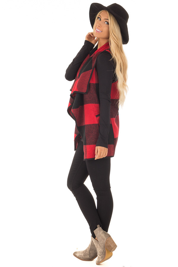 Black and Red Plaid Waterfall Vest with Pockets side full body