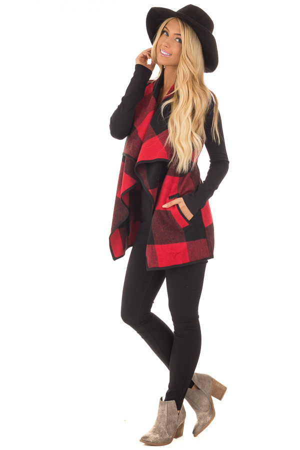 Black and Red Plaid Waterfall Vest with Pockets front full body