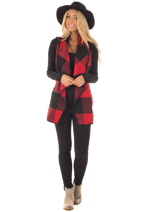 Black and Red Plaid Waterfall Vest with Pockets - Lime Lush Boutique