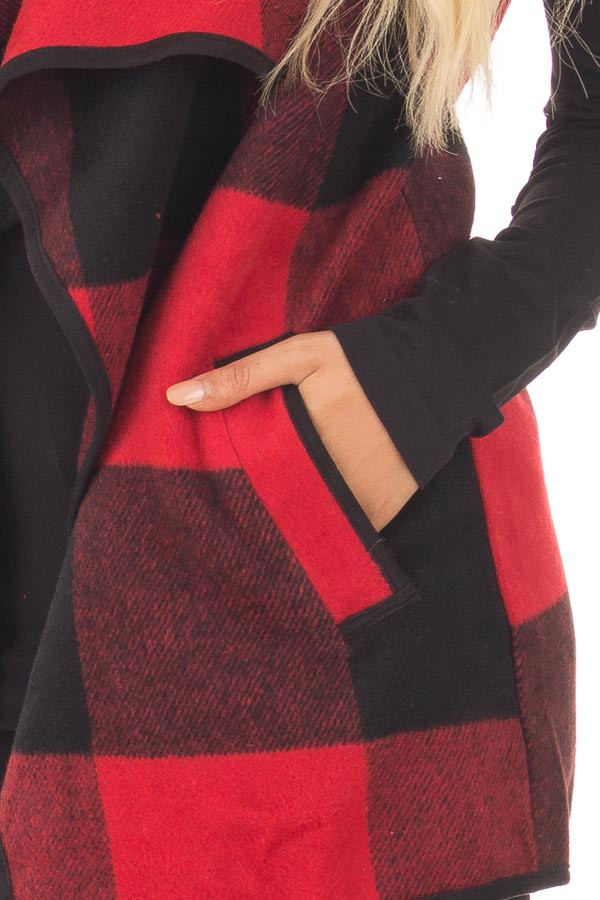 Black and Red Plaid Waterfall Vest with Pockets detail