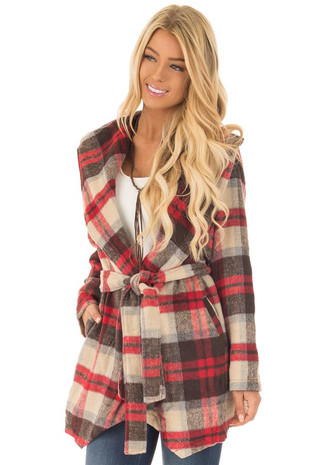 Taupe, Red, and Brown Plaid Waterfall Cardigan with Pockets front close up