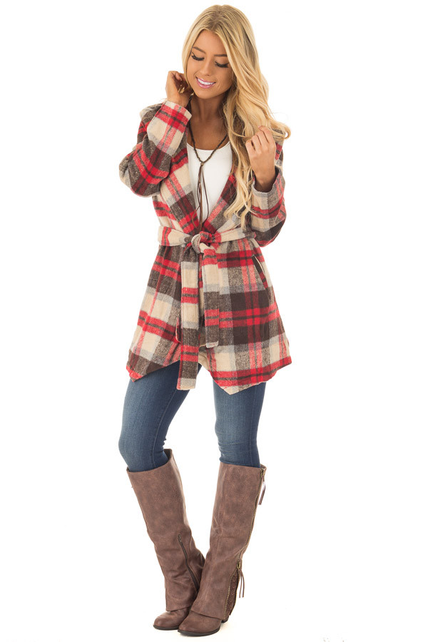 Taupe, Red, and Brown Plaid Waterfall Cardigan with Pockets - Lime ...