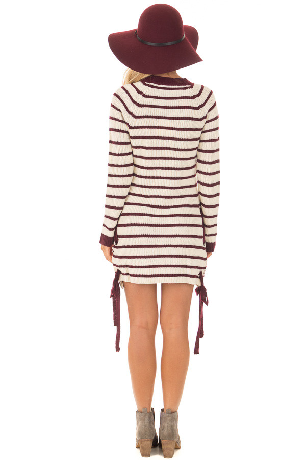 Burgundy and Cream Striped Knit Dress with Tie Details back full body