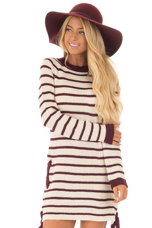 Burgundy and Cream Striped Knit Dress with Tie Details front close up