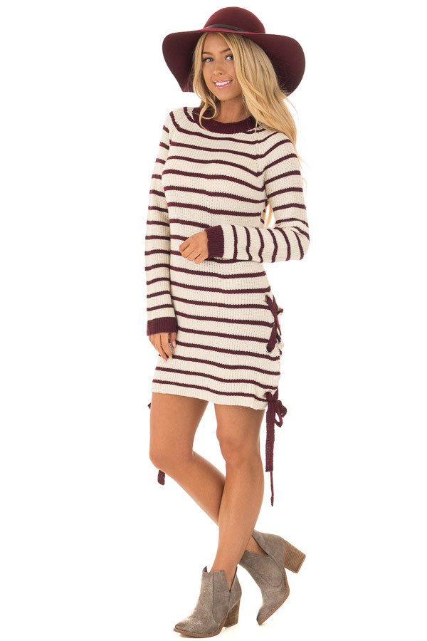 Burgundy and Cream Striped Knit Dress with Tie Details front full body