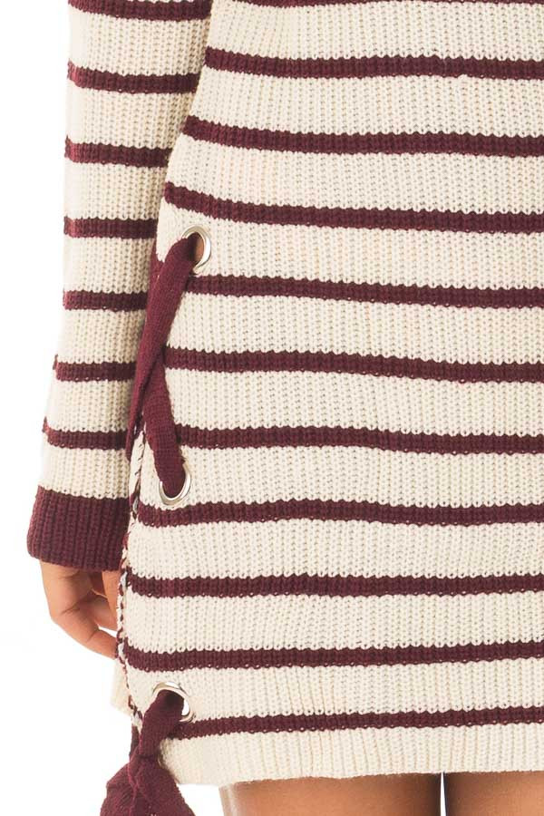 Burgundy and Cream Striped Knit Dress with Tie Details detail