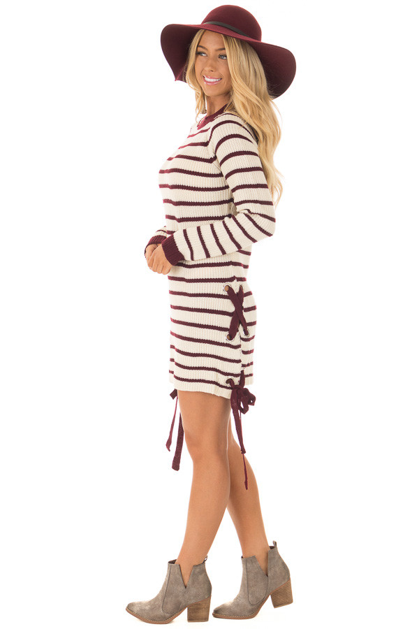 Burgundy and Cream Striped Knit Dress with Tie Details side full body