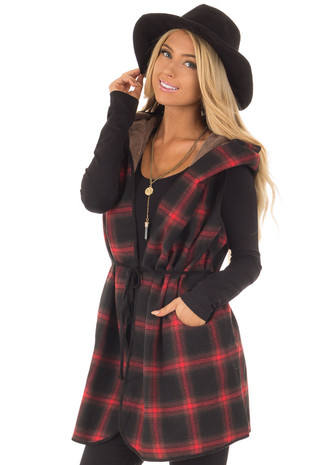 Red and Black Plaid Hooded Vest with Faux Fur Lining front close up