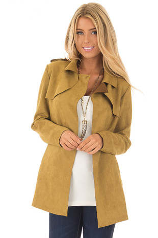 Mustard Faux Suede Jacket with Pockets front close up