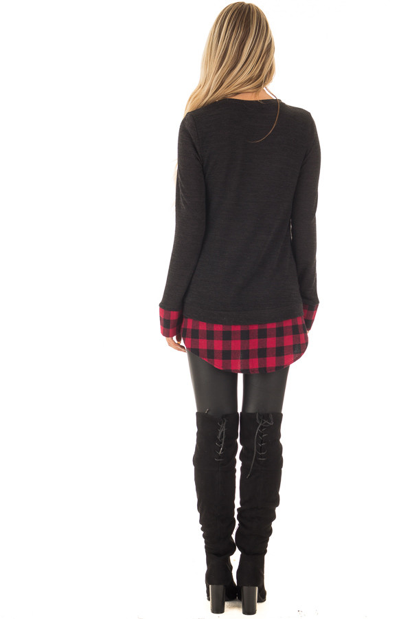 Black Knit Top with Red Plaid Contrast Hem and Cuffs back full body