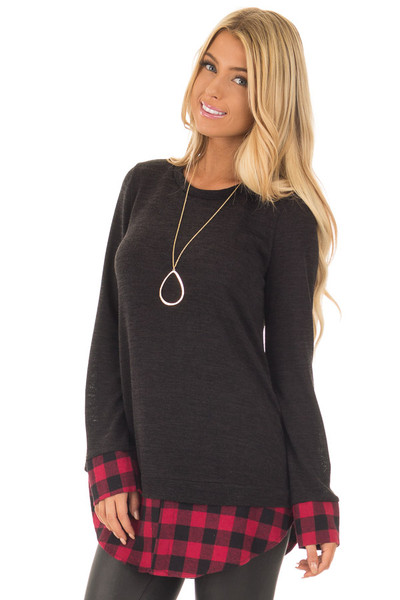 Black Knit Top with Red Plaid Contrast Hem and Cuffs front close up