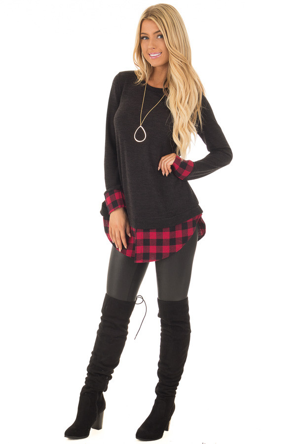 Black Knit Top with Red Plaid Contrast Hem and Cuffs front full body