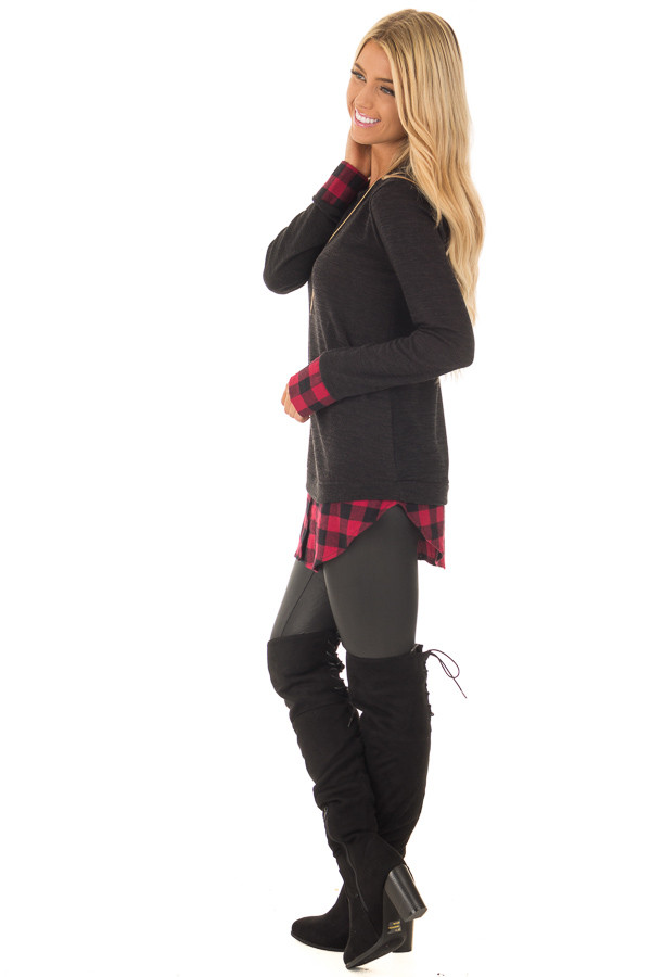 Black Knit Top with Red Plaid Contrast Hem and Cuffs side full body