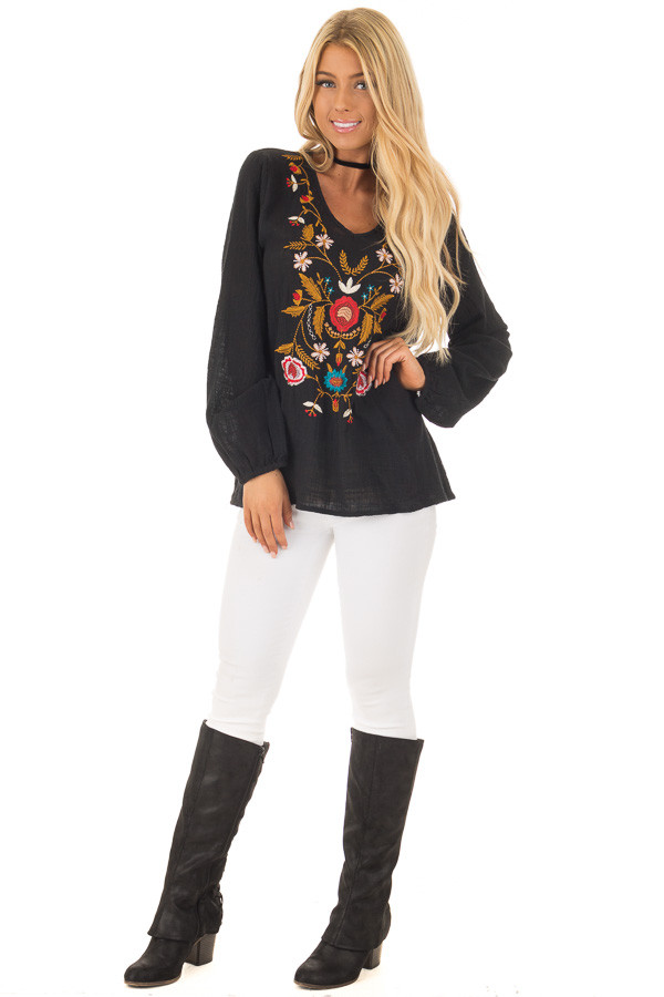 Black Blouse with Floral Embroidery front full body