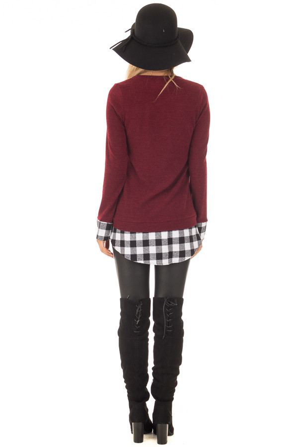 Burgundy Knit Top with Black Plaid Contrast Hem and Cuffs back full body