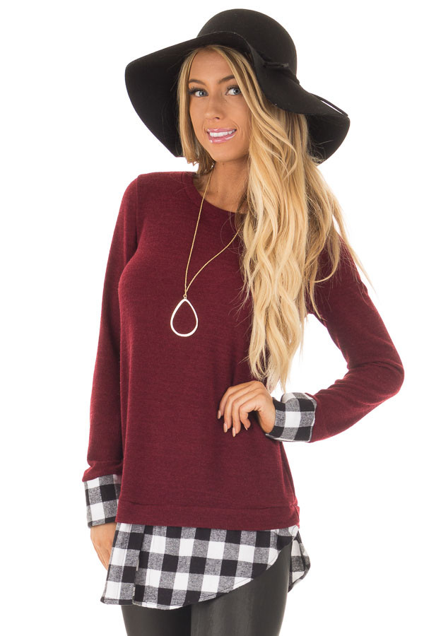 Burgundy Knit Top with Black Plaid Contrast Hem and Cuffs front close up