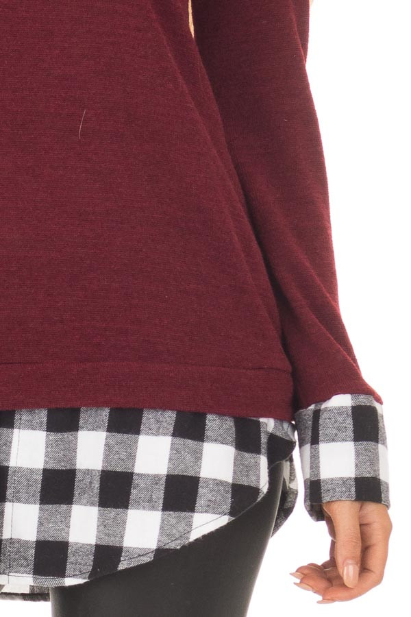 Burgundy Knit Top with Black Plaid Contrast Hem and Cuffs detail