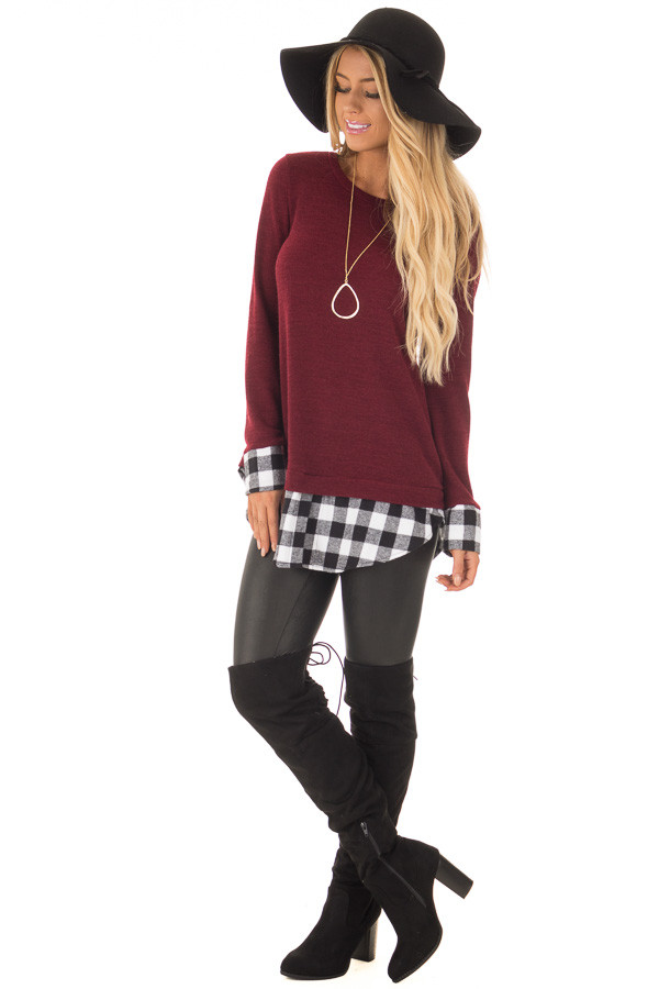 Burgundy Knit Top with Black Plaid Contrast Hem and Cuffs front full body
