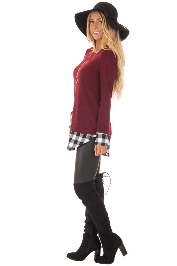 Burgundy Knit Top with Black Plaid Contrast Hem and Cuffs side full body