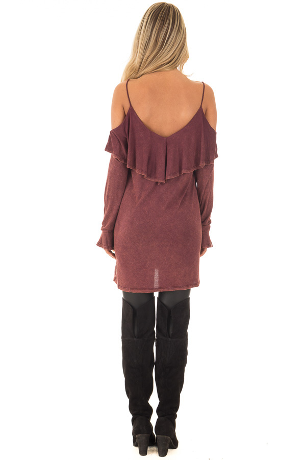 Burgundy Mineral Wash Cold Shoulder Long Sleeve Tee back full body