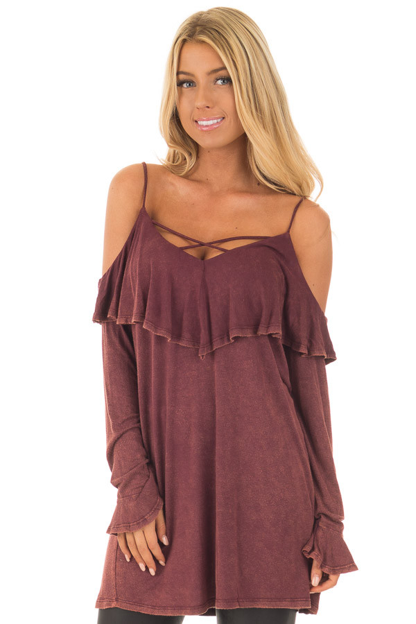 Burgundy Mineral Wash Cold Shoulder Long Sleeve Tee front close up