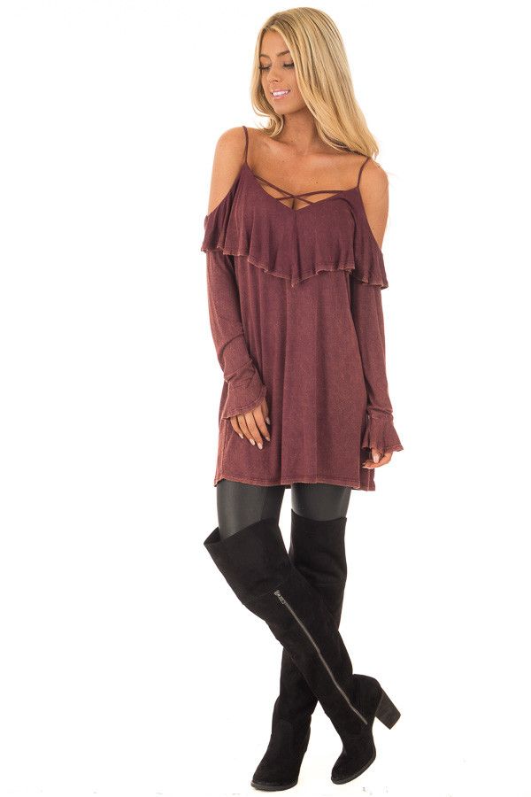 Burgundy Mineral Wash Cold Shoulder Long Sleeve Tee front full body