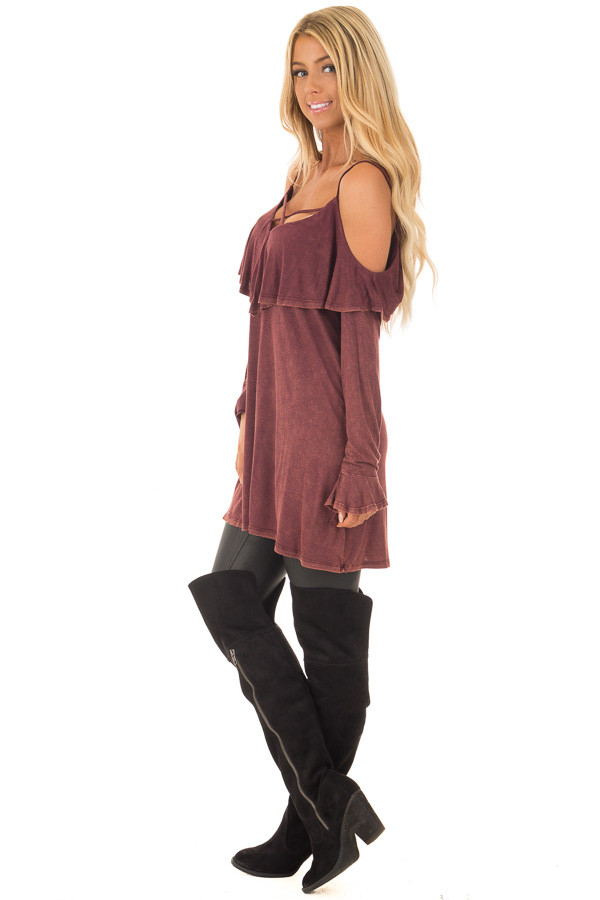 Burgundy Mineral Wash Cold Shoulder Long Sleeve Tee side full body