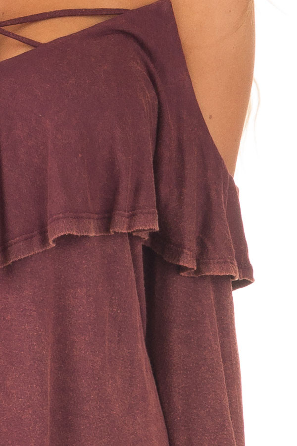 Burgundy Mineral Wash Cold Shoulder Long Sleeve Tee detail