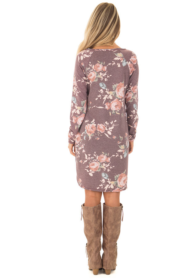Burgundy Floral Print Long Sleeve Dress back full body