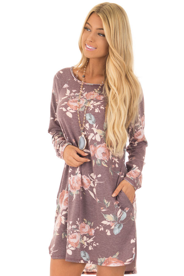 Burgundy Floral Print Long Sleeve Dress front close up