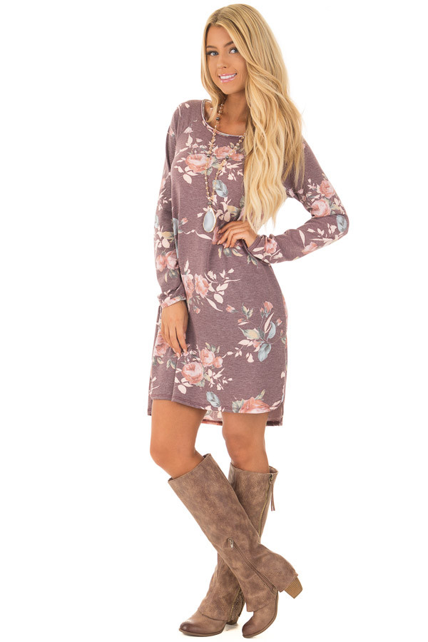 Burgundy Floral Print Long Sleeve Dress front full body