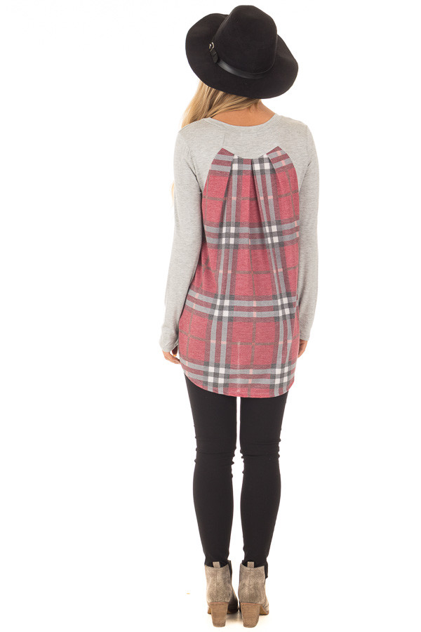 Heather Grey Long Sleeve Tee with Burgundy Plaid Contrast back full body