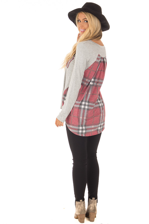 Heather Grey Long Sleeve Tee with Burgundy Plaid Contrast back side full body
